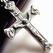 "Large 2"" Four Temple Holy Trinity Crucifix silver jesus cross Catholic pendant"