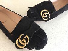 Gucci Marmont GG Kiltie Fringe Black Suede Ballet Flats Shoes Size 36
