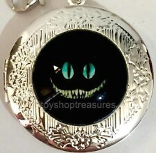 New Vintage Style Black  Cheshire Cat Locket Necklace - Silver  bf