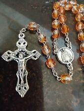 Vintage Catholic Orange Glass Rosary
