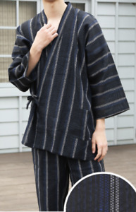 Japanese SAMUE Men Traditional work Kimono wear Topps Pants Black Stripe 5 JAPAN