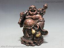 China Buddhism Red Bronze Copper Lucky Gourd Happy Laugh Maitreya Buddha Statue