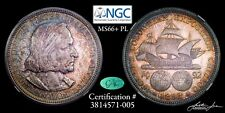 1892 NGC MS66+PL CAC Columbian Half Dollar Pop 1 Only 1 Higher!!