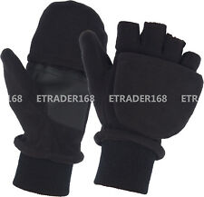 Fleece Convertible Fingerless Winter Warm Mitten Gloves Men Women Teens