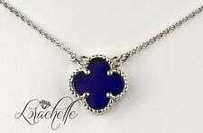"Natural Lapis Lazuli Four Leaf Clover 14K White Gold Necklace +16"" Chain"