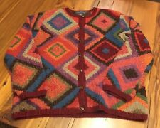 NORTHERN ISLES Colorful Soft KNIT Cardigan Sweater Sz M