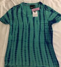 Nanette Lepore Women's Blouse AquaRoyal Blue Tie Dye Short Sleeve Size XS