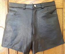 "vintage black leather high waist shorts hot pants 27"" waist"