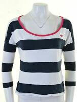 HOLLISTER Womens T-Shirt Top 3/4 Sleeve Size 10 Small Navy Blue Striped Cotton