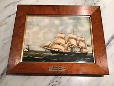 """Vintage Wedgwood Clipper Ship Tile Framed Plaque """"Golden West� Mint"""