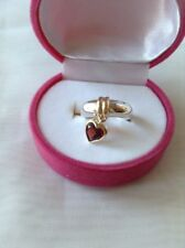 Star Jewelry Company 925 Silver Ring 14K Gold Heart Charm Size 5