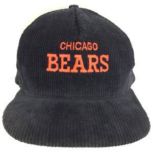 Vintage Chicago Bears Cap Corduroy Hat Color Block Script Logo Snapback Football
