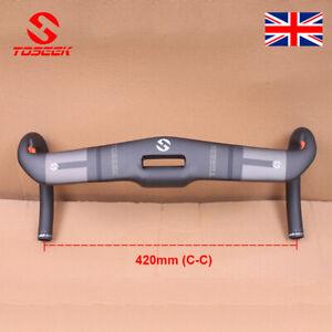 TOSEEK 31.8*420mm Carbon Road Bar Integrated Bar 17°Stem Racing Drop Handlebar