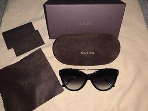 Tom Ford Women's Gradient Livia FT0518-01B-58 Black Cat Eye Sunglasses