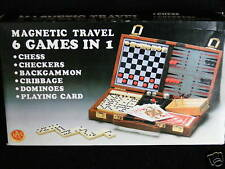 MAGNETIC TRAVEL SET 6 GAMES CHESS CHECKERS DOMINOES ETC