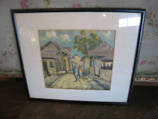 Likely Vintage Signed Watercolor Painting of People Walking Through Village