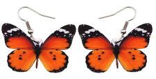 Butterfly Earrings Orange Insect Charm  Acrylic  Hypoallergenic Women Children