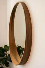 mirror wall round natural wood veener European walnut 27,5 in like ikea