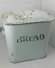 Large Enamel BREAD BOX Vintage With Lid 1920's - 1930's White And Blue English