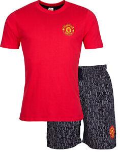 Manchester United FC Mens Pyjamas, Mens Man Utd Summer Pjs, Official Merchandise