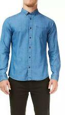 BURTON mens Mid Wash Long Sleeved Denim Shirt Size Medium