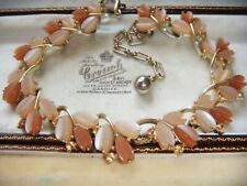 VINTAGE Adorable Two Tone Thermoset Citrine Crystal NECKLACE att Lisner Small Sz