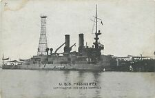 USS Mississippi~Battleship~Figurehead at Bow~Sunk by Germans in WWII~1909 PC