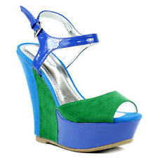 Bamboo Smooch New Blue green Ankle Strap mary jane wedge platform open toe Sz 10