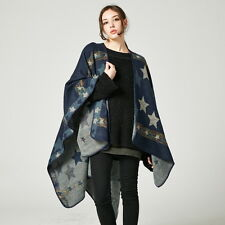 Women Luxury Celeb Cashmere Like Poncho Blanket Wrap Shawl Amice Cape Stars Chic