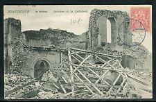 Martinique - Obl. de Fort de France sur carte postale dégâts du Volcan en 1904