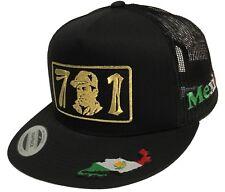 EL CHAPO GUZMAN 701 GOLD HAT 3 LOGOS MAPA EN LA VISERA BLACK MESH  SNAPBACK