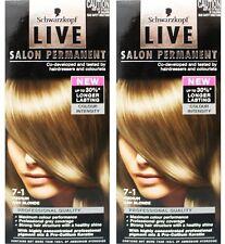 2 X Schwarzkopf Live Salon Permanent Hair Colour 7-1 Medium Ash Blonde
