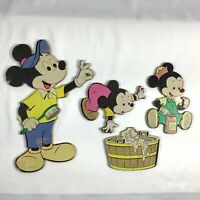 Vintage Disney Mickey Mouse Family Bathroom Cardboard Wall Hanging Art 4 Pcs