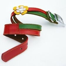 Cool Rasta Leather Dog Collar - Red Green and Yellow
