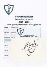 Noureddine Naybet Tottenham Hotspur 2004-2006 Original Corte/tarjeta firmada a mano