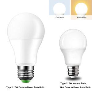 E27 5W/7W Led Light Sensor Bulb Dusk To Dawn Lamp Indoor Outdoor 110V 220V Cool