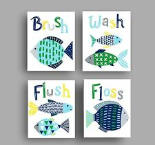 Fish bathroom art prints bath rules wave runner shower curtain decor blue green