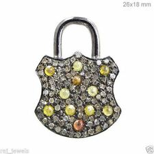 Natural Diamond Pave Padlock Pendant Sterling Silver Antique Look Jewelry LATEST