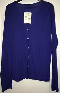 NEW Ralph Lauren Golf 'Natalie Cardigan', 100% Cotton, Royal Blue, Size Large