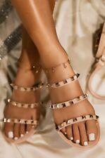 New Women Pyramid Spike Gold Studded Slide Flat Jelly Sandal Flip Flops Open Toe