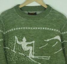 Alps Knitmeister Wool Ski Sweater Size Medium Unisex Green Skier Graphic