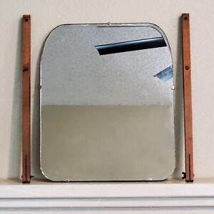 "Antique 1920's Wooden Vanity Mirror ART w/ Framed Stands for Dresser 15x18x1"""