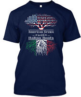 American Grown With Italian Roots Crown Na Hanes Tagless Tee T-Shirt