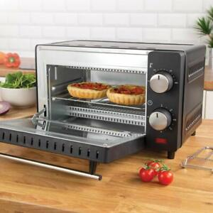 9L 650W MINI ELECTRIC OVEN GRILL TOASTER BLACK COUNTER TABLE TOP COMPACT CARAVAN