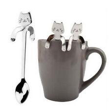 1Pcs Cartoon Silber Katze Edelstahl Tee Kaffee Löffel Eiscreme Besteck Geschirr