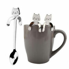 Cartoon Silber Katze Edelstahl Tee Kaffee Löffel Eiscreme Besteck Geschirr 1PC N