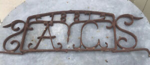 Decorative Old French Wrought Iron Door Sign - Dated 1887. Initialled AC