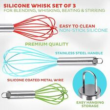 3Pcs Stainless Steel Hand Whisk Set Wire Kitchen Baking Tool SILICONE Set NEW!