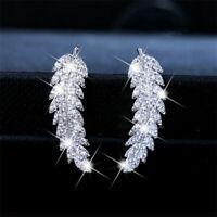 Fashion Women 925 Silver White Topaz Leaf Ear Studs Hook Dangle Drop Earrings
