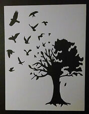 """Birds Flying Out Large Country Tree 8.5"""" x 11"""" Custom Stencil FAST FREE SHIPPING"""